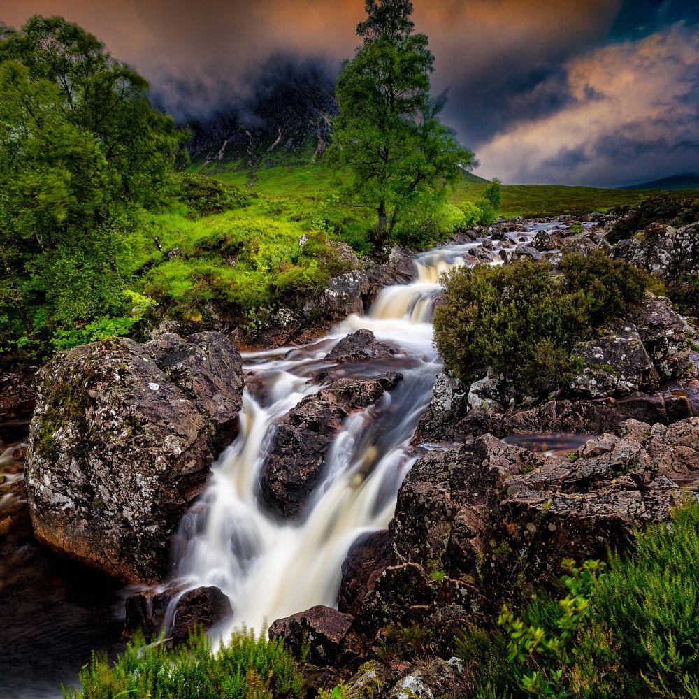 Photo in Landscape #scotland #highlands #glen etive #glencoe #green #lush #verdant #waterfall