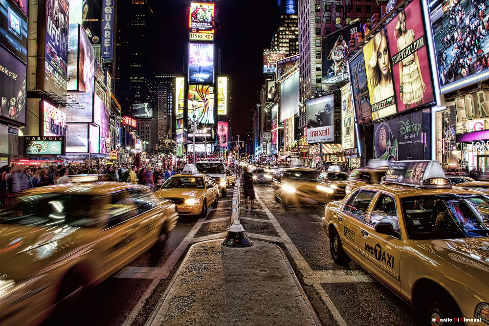 Photo in Landscape #new york #caos #light #street #car #taxy #yellow #time square #time #square #usa #america #people #streetscape #landscape #dusk #hdr #dragan #canon #nikon
