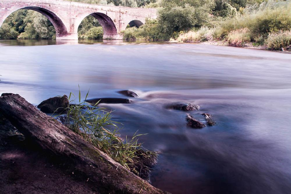 Photo in Landscape #bridge #river #trees #stones #uk #wye valley #day #sun #clouds