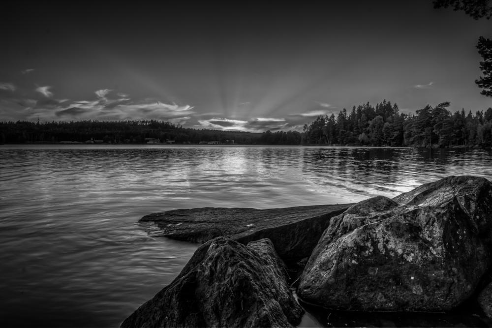Photo in Black and White #black and white #sunset #sun #dramatic