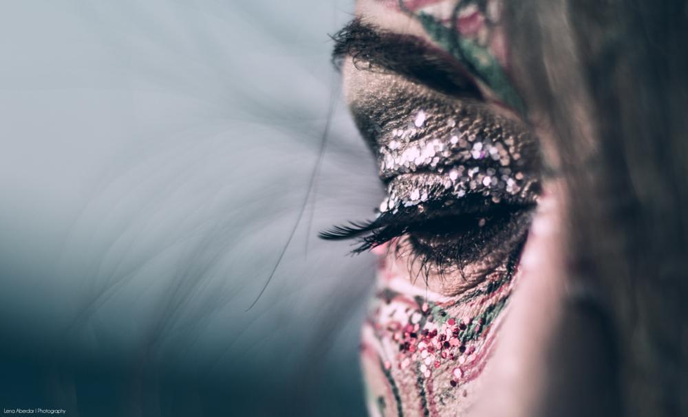 Photo in Fashion #closeup #makeup #glitter #sparkle #eye #facepaint #bodypaint #fashion #artsy