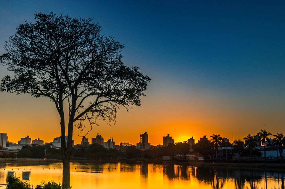 Photo in Landscape #city #dam #colors #sunset #lake #nature