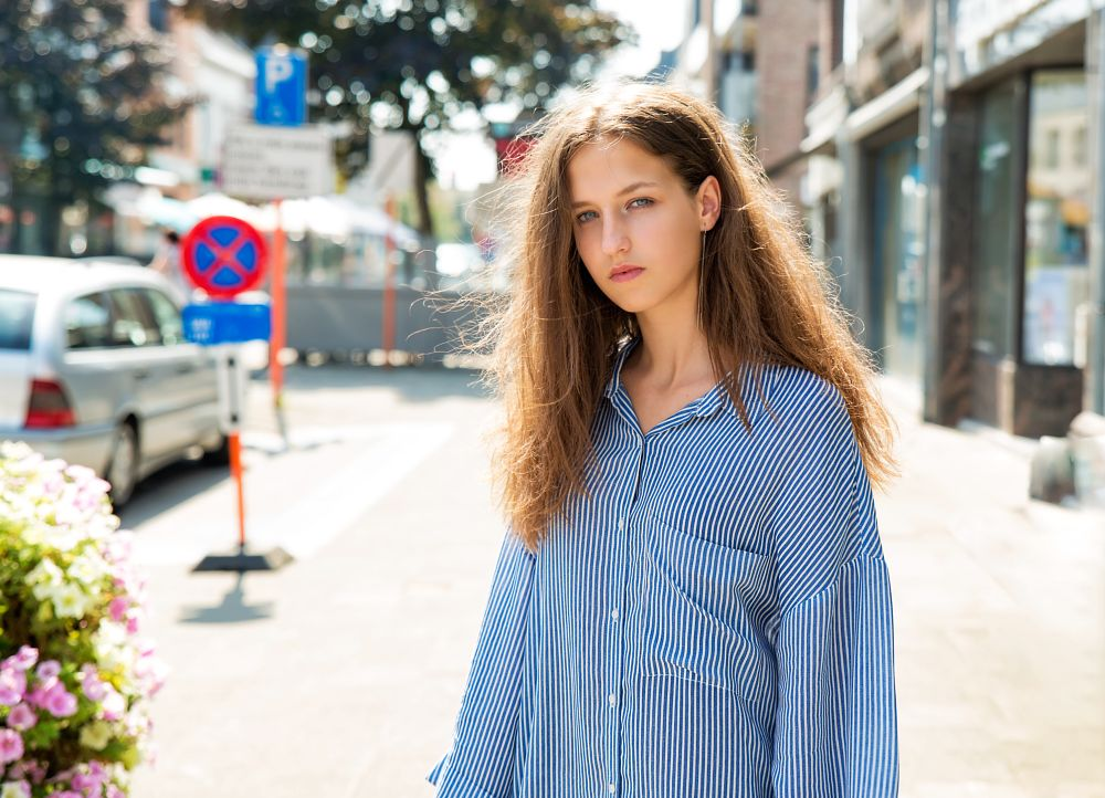 Photo in People #girl #hair #face #eyes #beauty #dress #canon #street #belgium #natural light