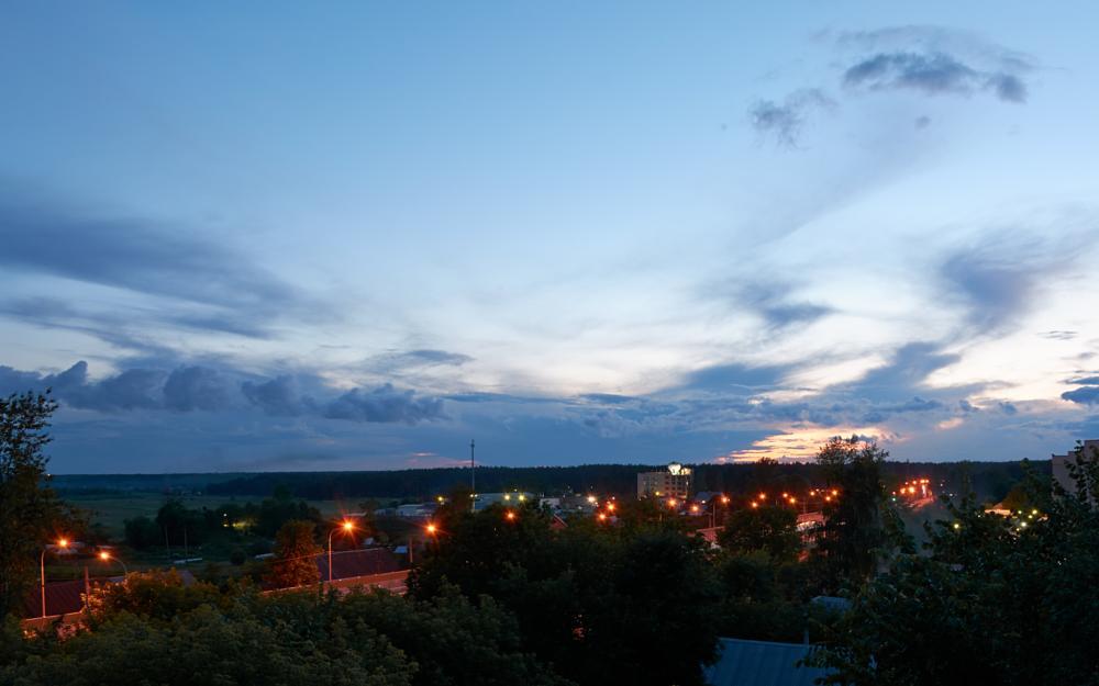 Photo in Urban #sky #city #urban #evening #cloud #spot #road