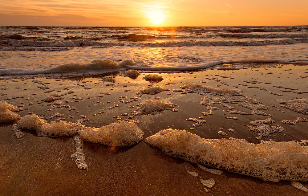 Photo in Random #dawn #sea #sand #beach #nature #light #foam