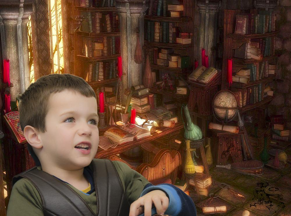 Photo in Abstract #boy #fantasy #library #superheros
