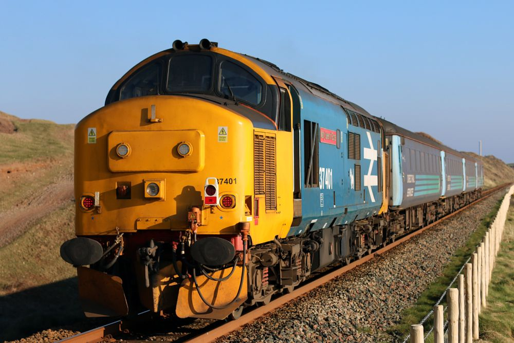 Photo in Travel #mary #queen #of #scots #br #british #rail #revised #blue #diesel #loco #passenger #train #cumbrian #coast #railway #line