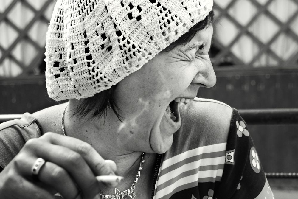 Photo in Portrait #woman #laugh #cigarette