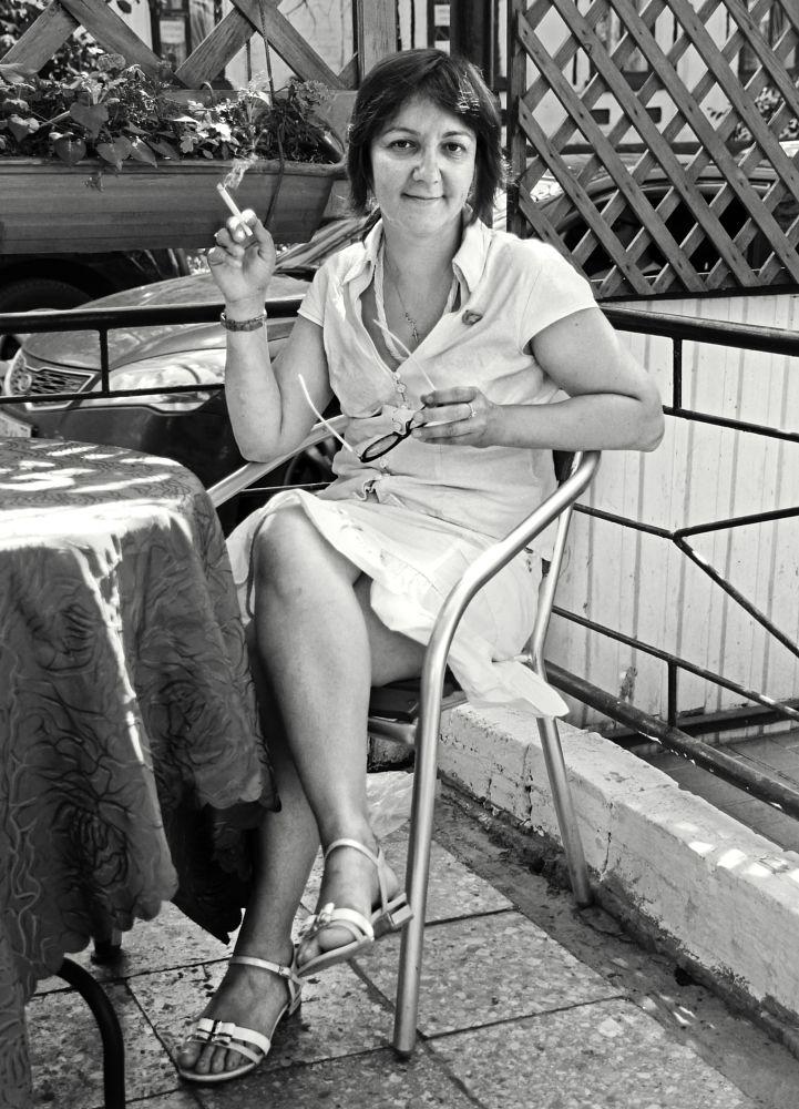 Photo in Portrait #woman #summer #cafe #cigarette #smoke