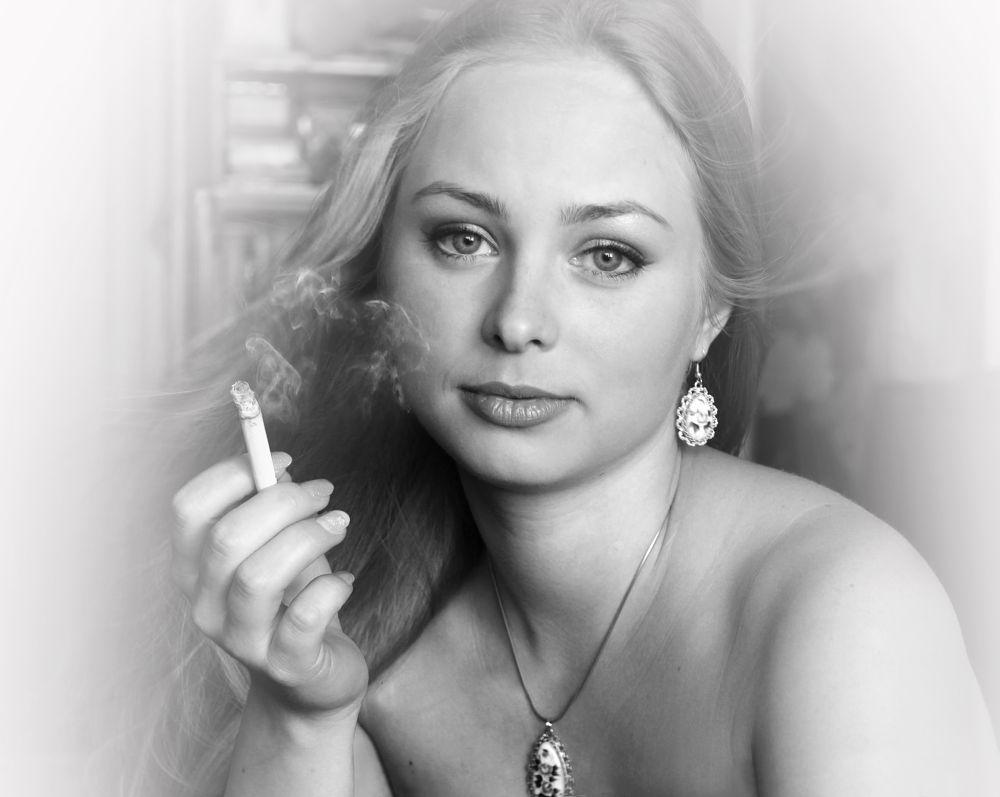 Photo in Portrait #girl #beauty #look #eyes #cigarette #smoke