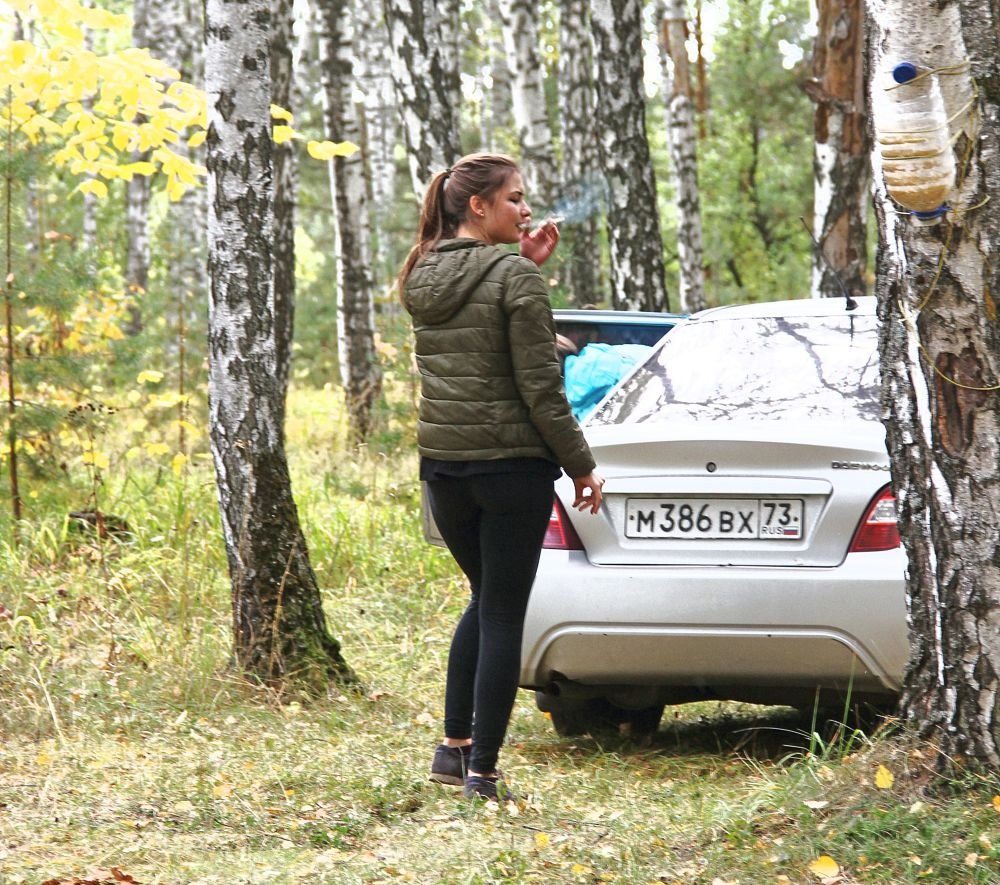 Photo in Portrait #girl #forest #car #smoking