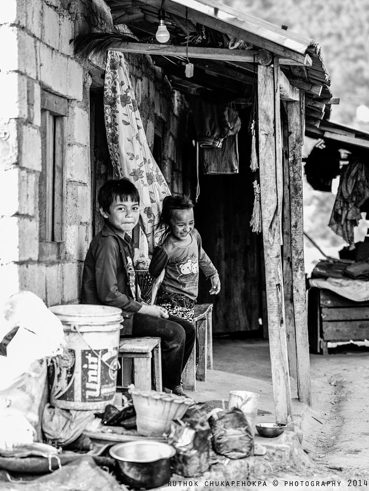 Photo in Black and White #home #nepal #village #black and white #children