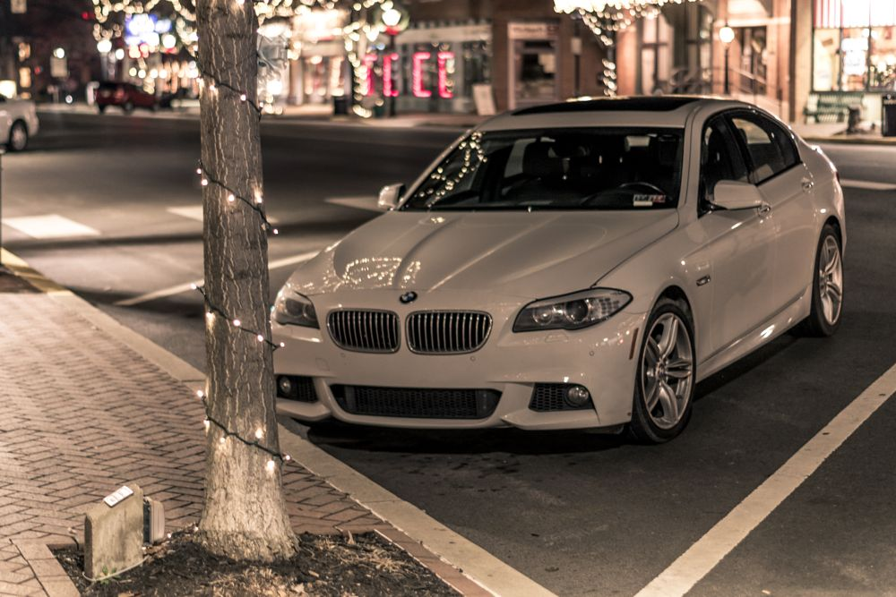 Photo in Vehicle #bmw #car #lights #city #street #white #night