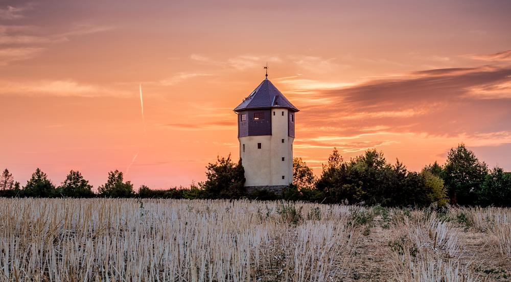 Photo in Architecture #sunset #sun #orange #blue #red #purpel #green #architechture #tower #building #field #cornfield #frankfurt #germany #trees #tree #clouds #cloud #sky #magic hour #blue hour