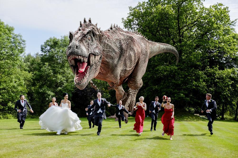 Photo in Wedding #dino #t-rex #wedding #fun #running