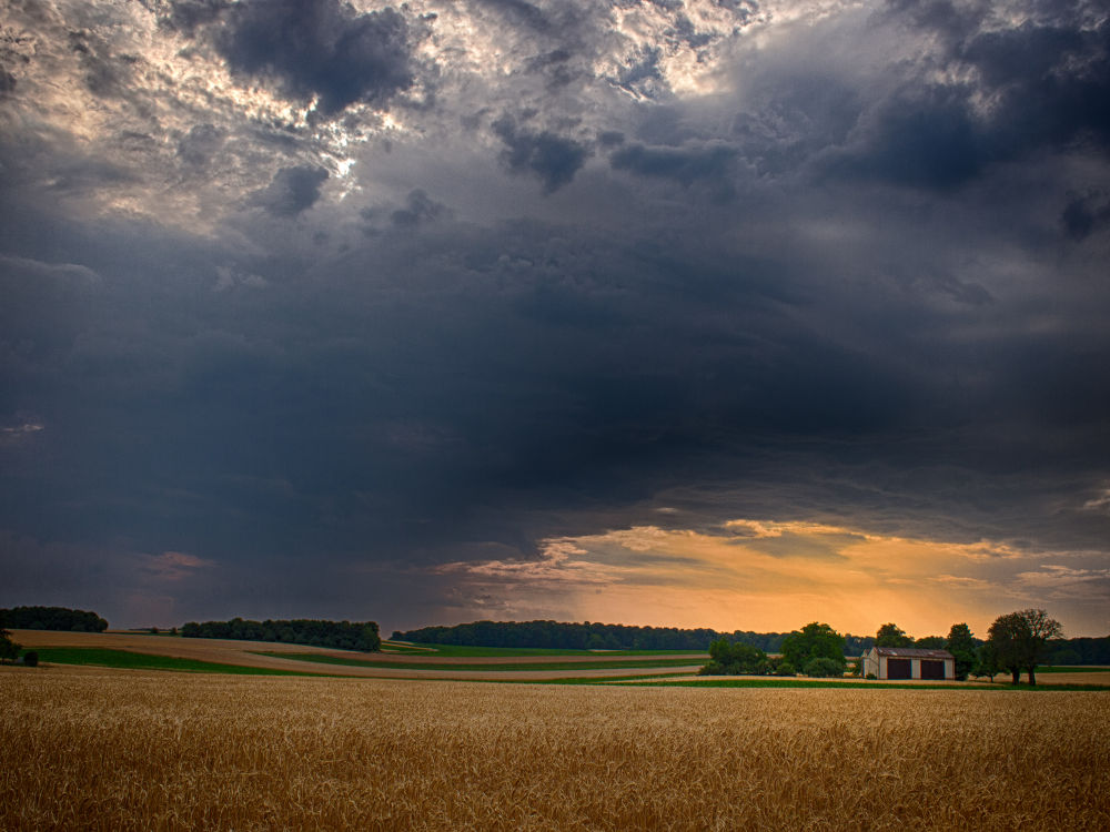 Photo in HDRI #landscape #hdr #acre #field #storm #cloud #sunset #tree #shed #olympus e-pl3 #lightroom