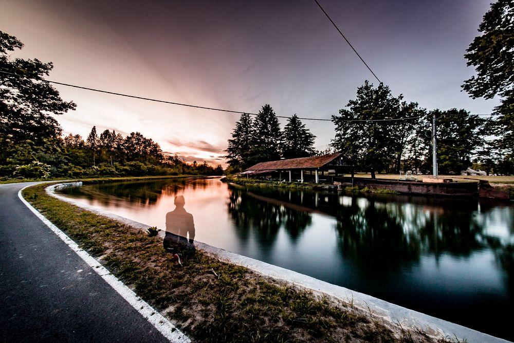 Photo in Landscape #sunset #selfie #sun #sky #clouds #lake #reflection #people #landscape