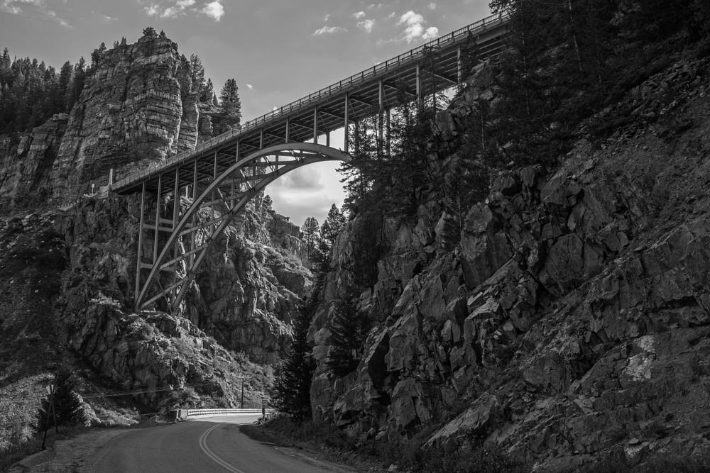 Photo in Architecture #black and white #bridge #colorado #red cliff arch