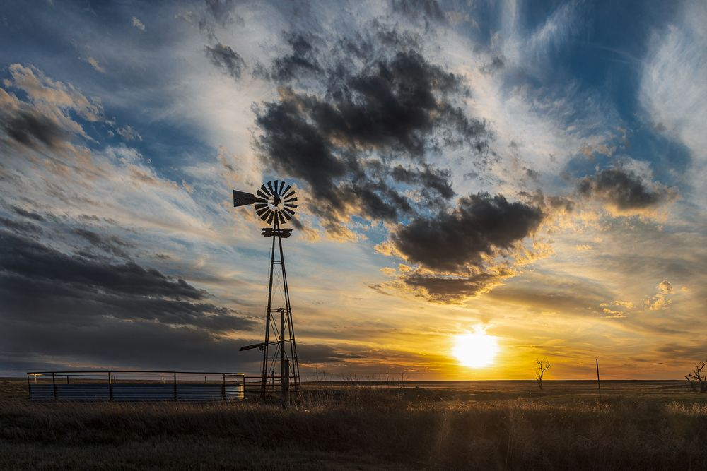 Photo in Landscape #agriculture #canon #canon 5d mkiv #kansas #landscape #landscapes #pasture #sky #tree #beautiful kansas #clouds #grass #kansas magazine #nature #only in kansas #prairie #ranching #stock tank #sunset #windmill