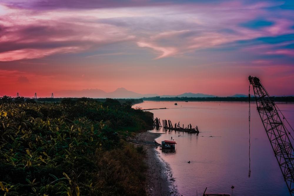 Photo in Landscape #river #sunset #sky #mountain #land #viet nam #ha noi #twilight #landscape #vietnam