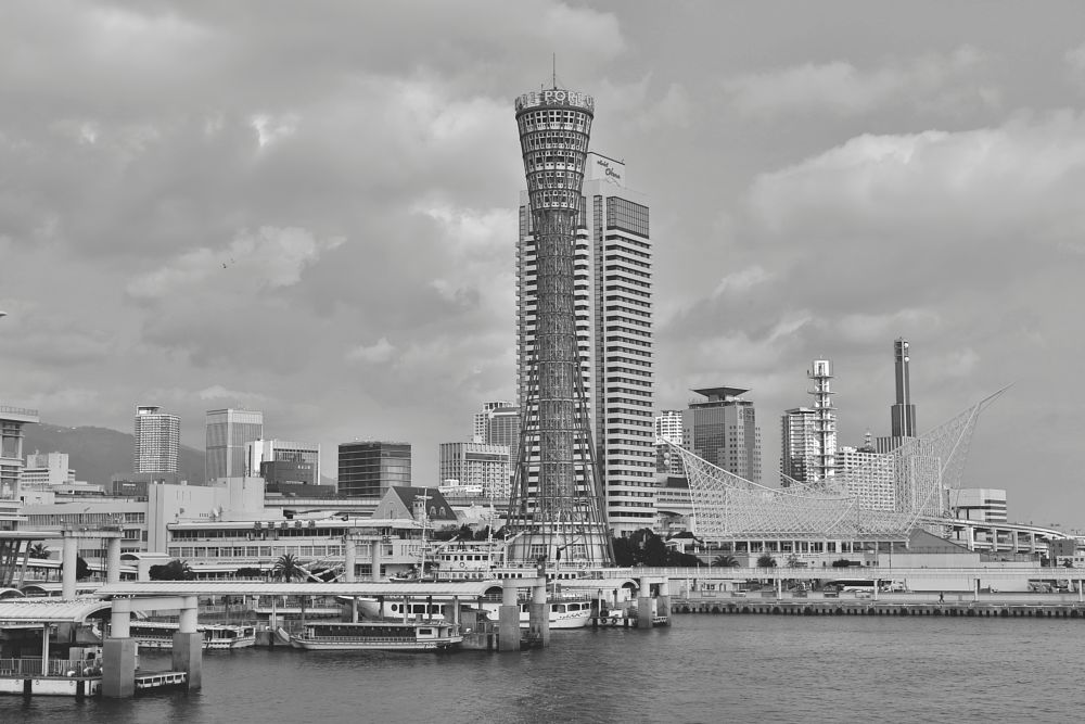 Photo in Black and White #osaka #kobe port tower #meriken park #고베항구 #japan