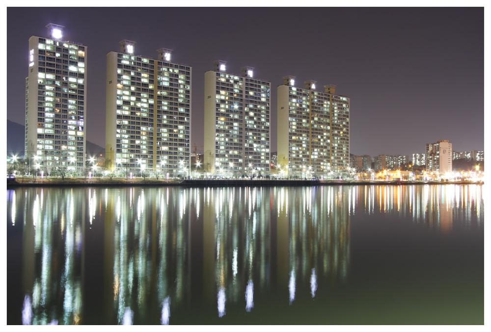 Photo in Urban #busan travel #night jogging #lake #korea #urban #reflection #colors #haeundae beach #busan cinema center
