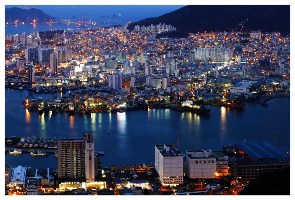 Photo in Cityscape #busan city #ocean view #korea #observatory #mountain #harbor city #night cityscape #islands #2013