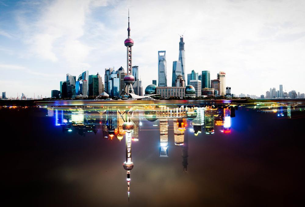 Photo in Fine Art #shanghai #ediz güzel #skyline #day #night #china #reflection