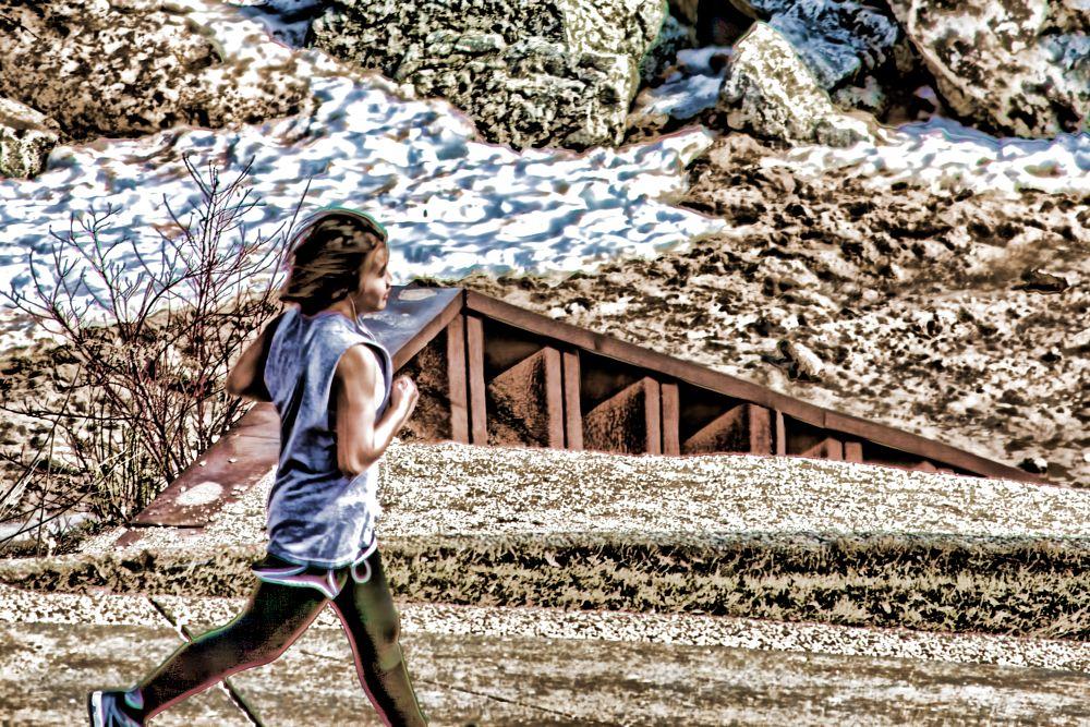 Photo in Random #jogging #running #people #woman #winter #milwaukee #wisconsin #stylized #city