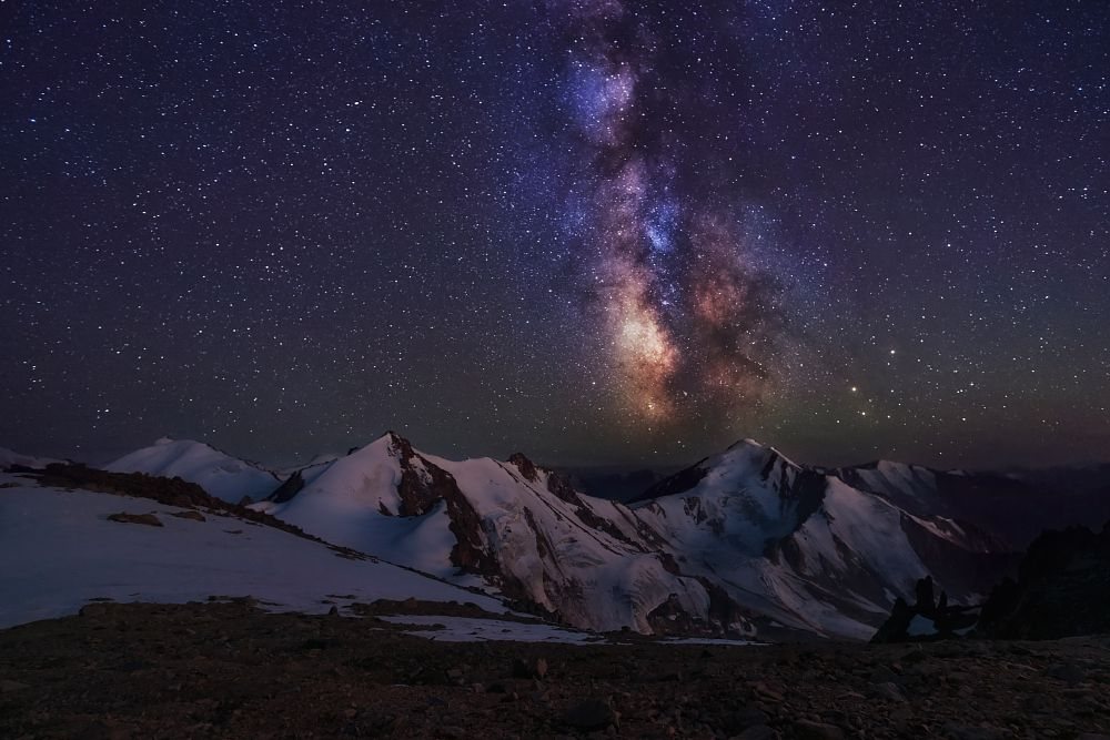 Photo in Astrophotography #milky way #night sky #mountain tops #mountain top view