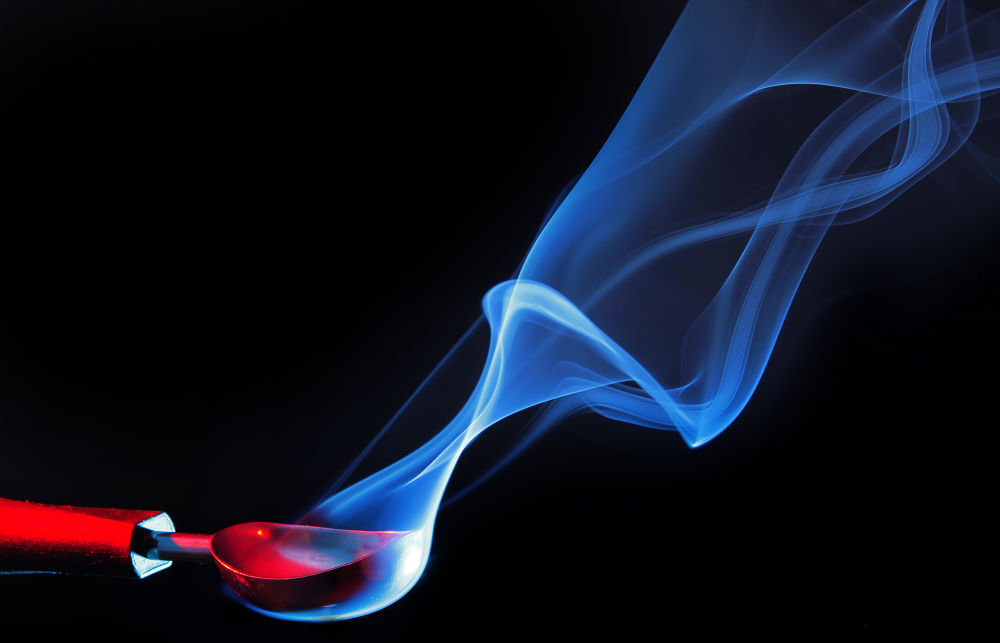 Photo in Abstract #neil wharton #canon #7d #abstract #spoon #blue #red #studio #smoke