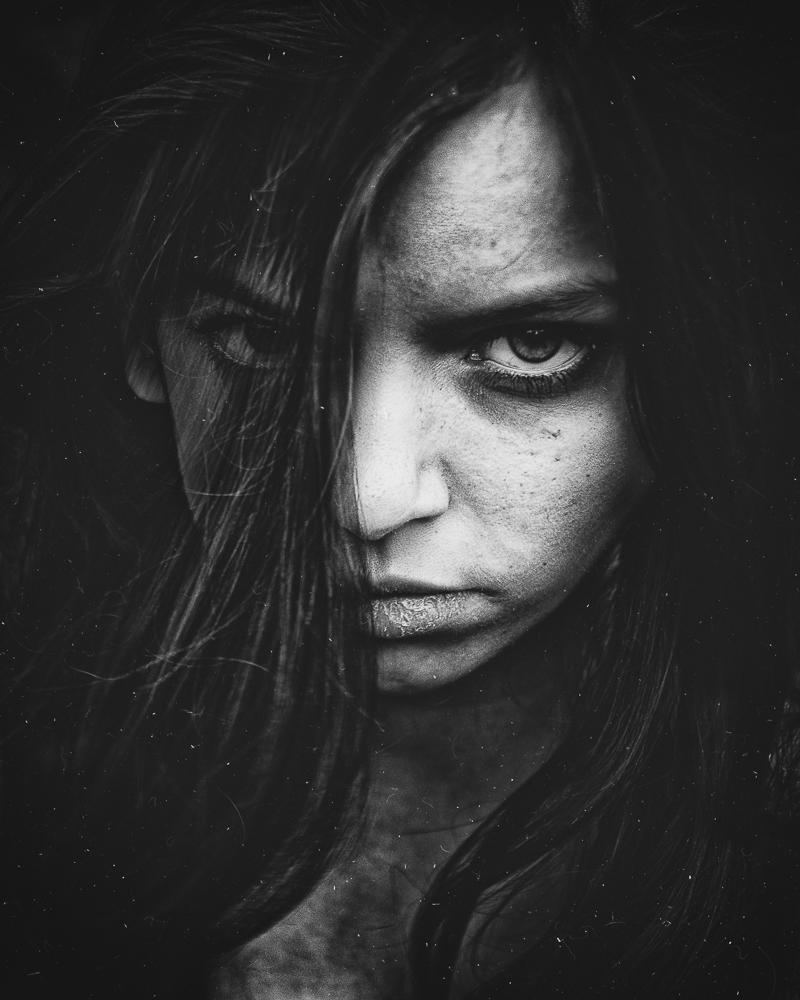 Photo in Portrait #portrait #b&w #shadow #woman #eye #mouth #face #dark #frame #whisper #two face