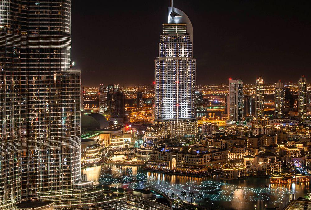 Photo in Cityscape #downtown #cityscape #night #address #hotels #burj khalifa #lights #dubai #uae