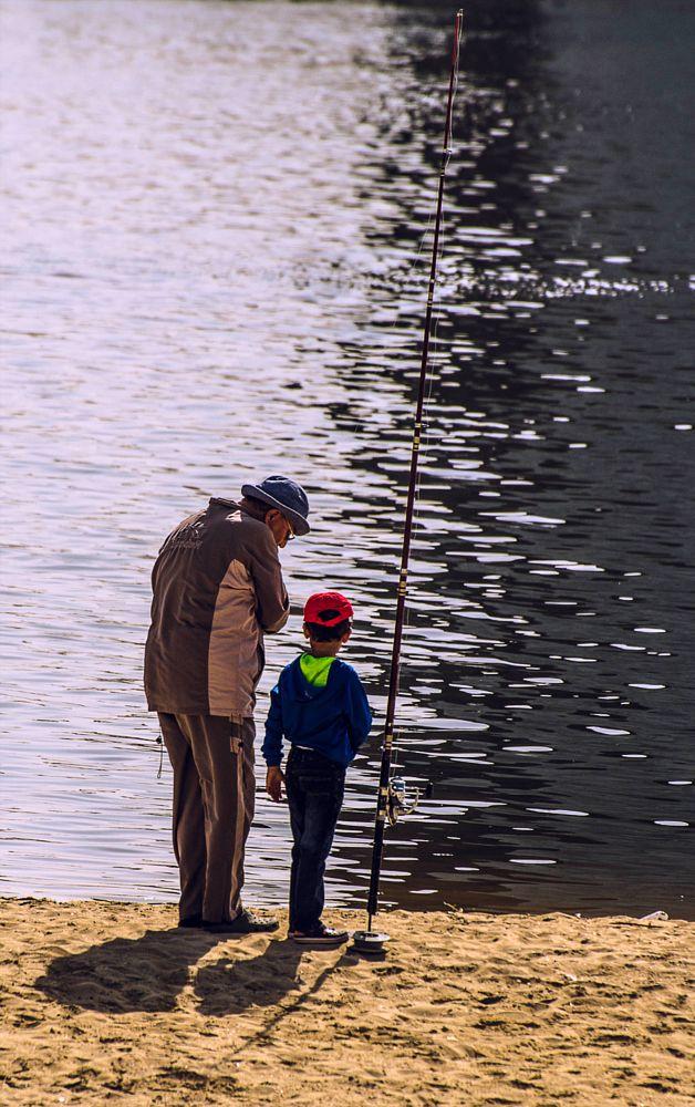 Photo in People #fishing #boy #grandad #riverside #rod #creek