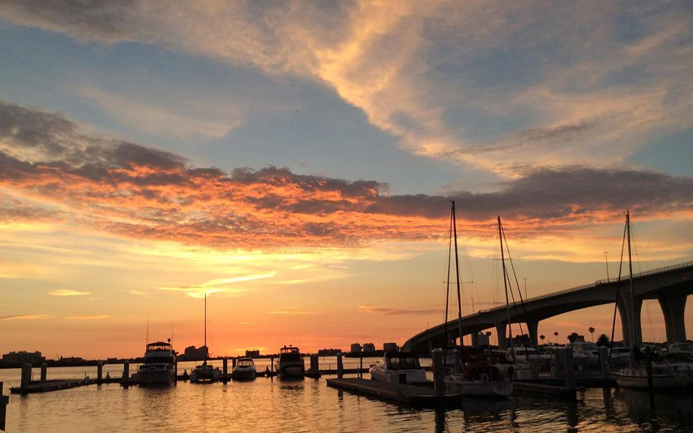 Photo in Sea and Sand #sunset #clearwater #florida #bay #boats #marina