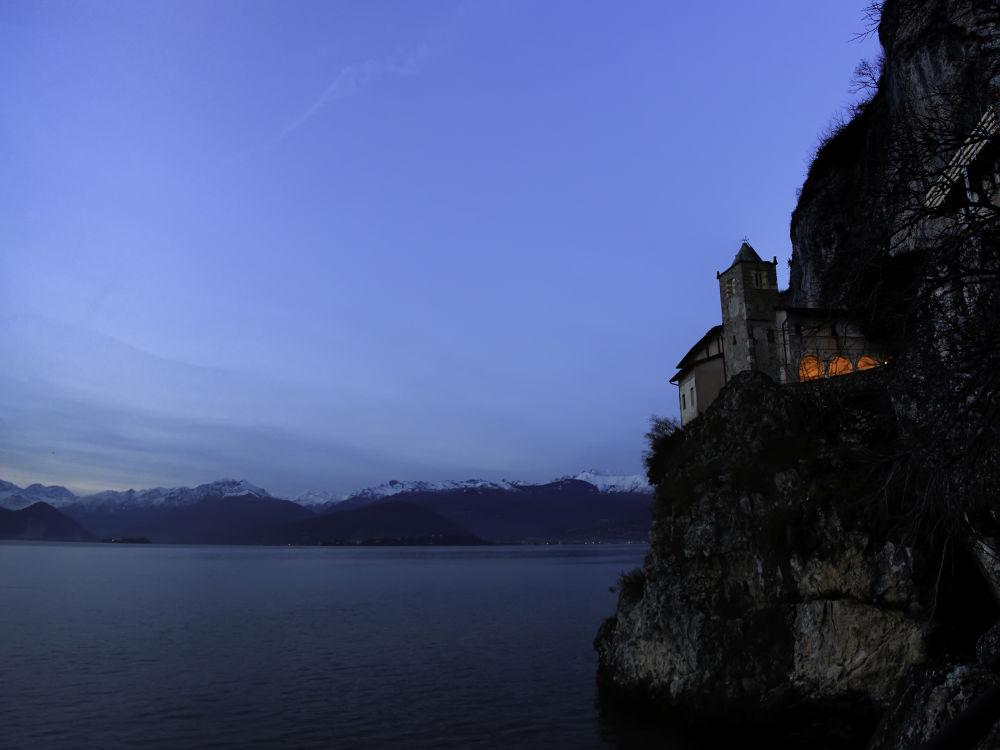 Photo in Landscape #s. caterina del sasso #lake #lake maggiore #water #mountains #blue #sky #sunset #rocca #church