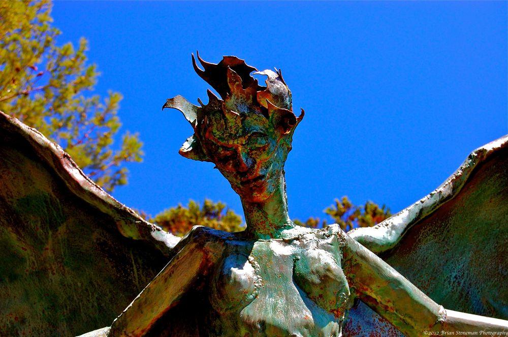 Photo in Random #fire #blue #sky #statue #angel #bisbee
