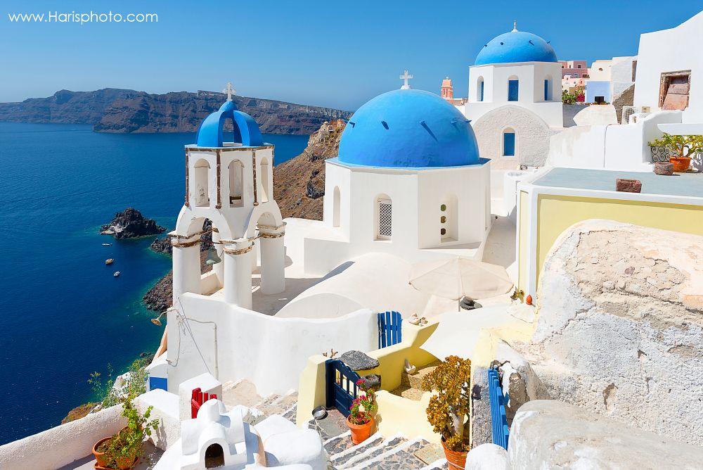 Photo in Travel #oia #domes #santorini #blue #white #caldera #sun #romantic