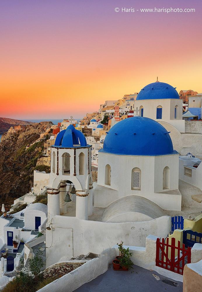 Photo in Travel #oia #santorini #cyclades #greece #island #sunrise #church #colors #summer #sun #nikon #d800