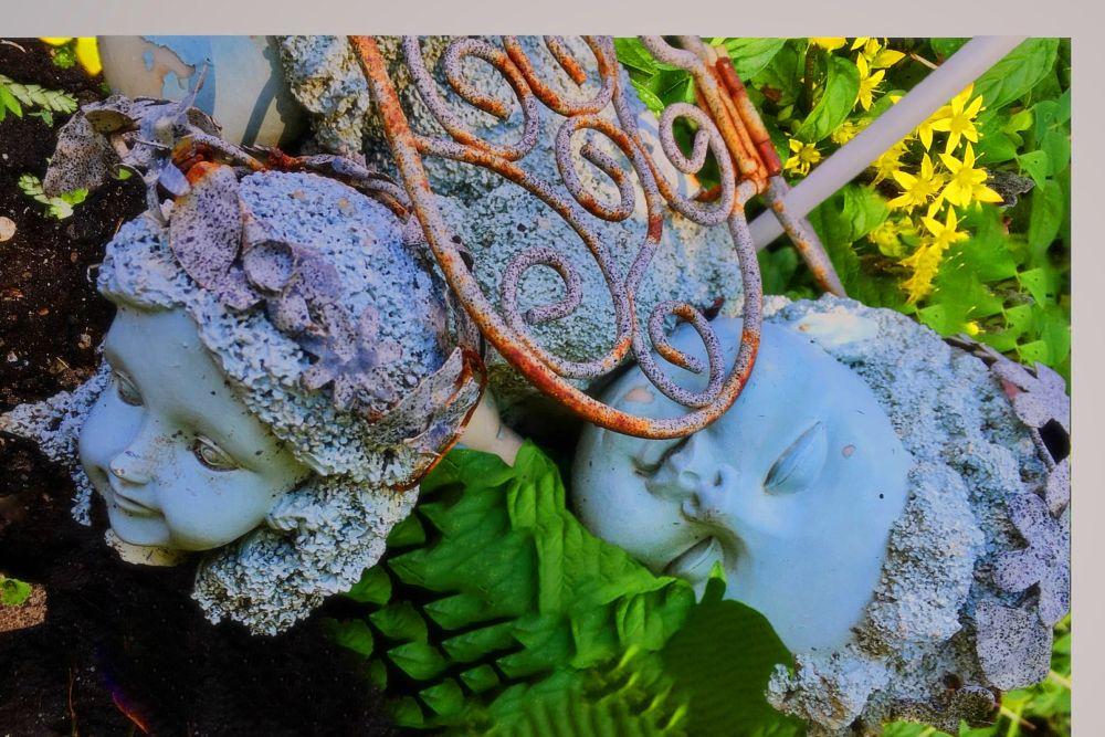 Photo in Random #garden #angels #wings #green #flowers