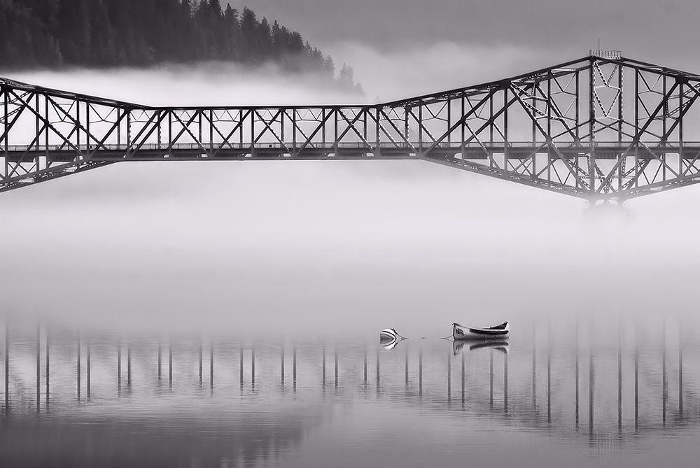 Photo in Black and White #b&w #water #lake #boat #bridge