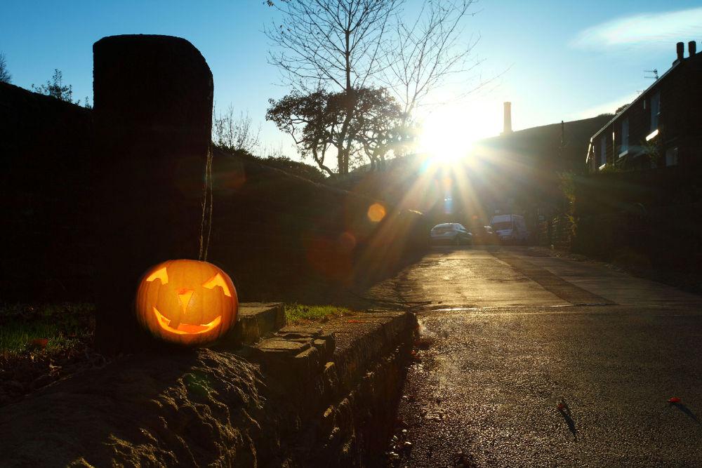 Photo in Random #pumpkin #halloween #sunset #sun flare #silhouette #lancashire #ypa2013