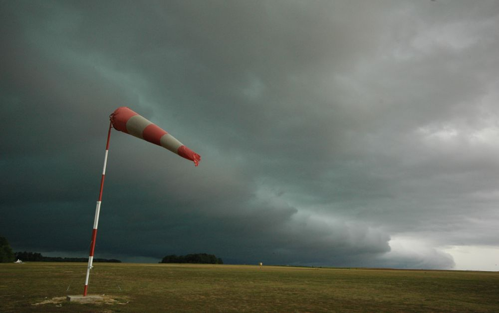 Photo in Random #wind sock #storm #clouds #arcus #air #weather #gray #dark