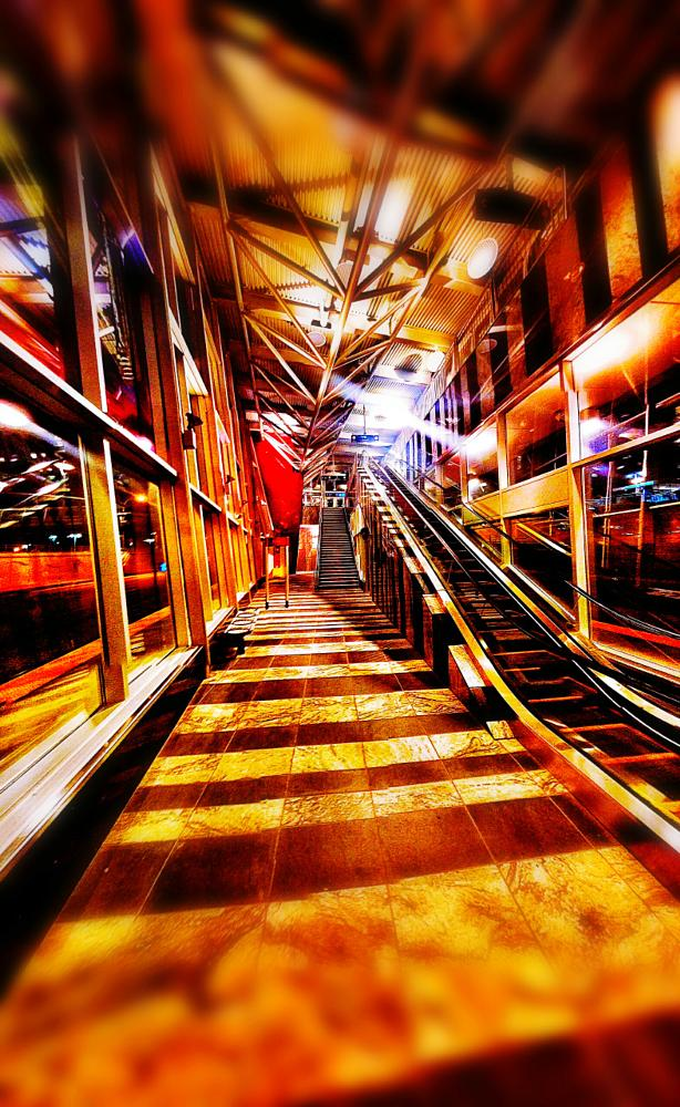 Photo in Architecture #streetcontest #calgary #subway #train #transit #lrt #tram #architecture #design #art #stairs #escalator #glass #reflections #light #colors #city #cityscape #summer2015contest