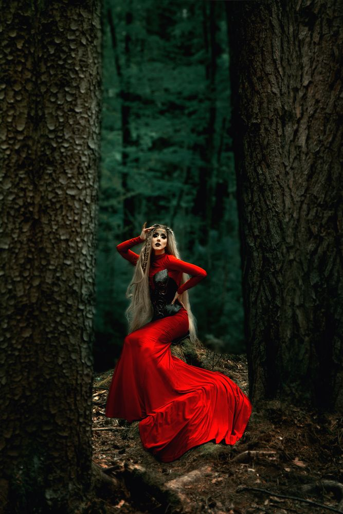Photo in Fashion #model #beauty #fantasy #red gown #makeup #fineart #red #forest #outdoor #fashion #woman #female