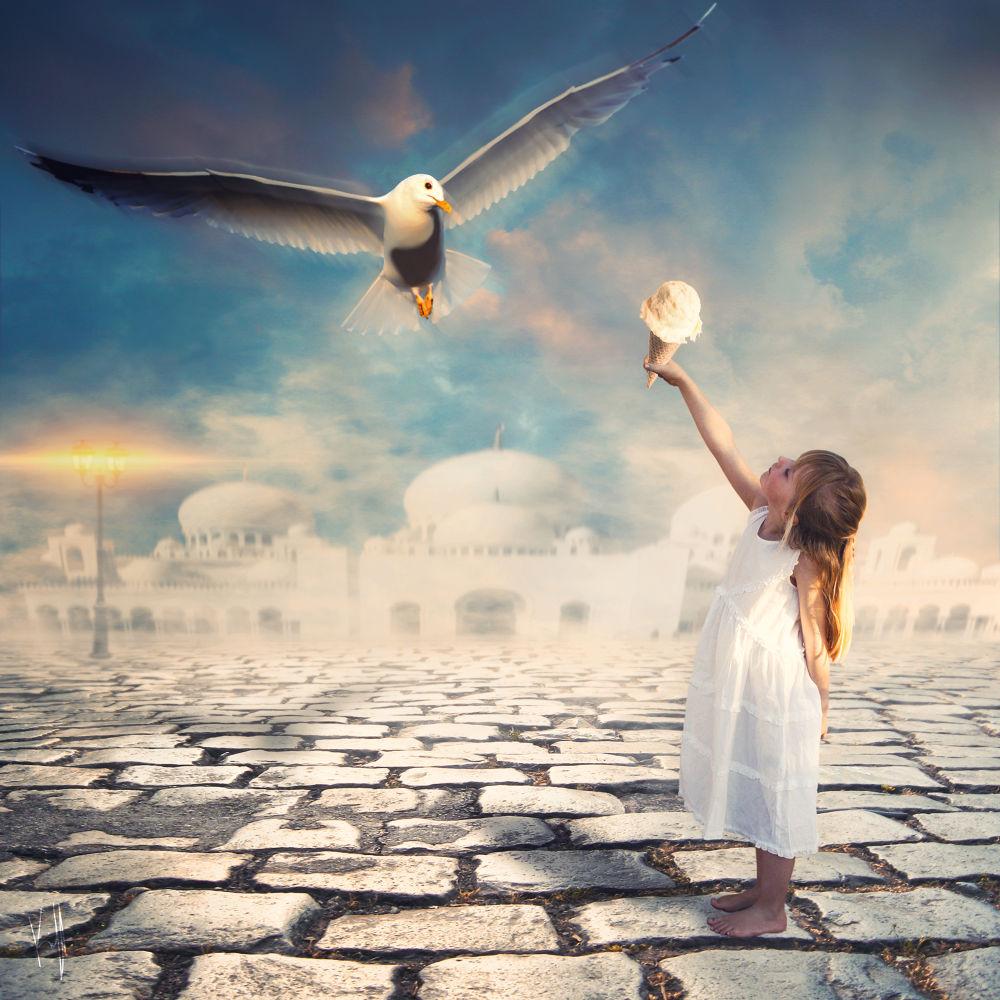 Photo in Fine Art #fine art #photomanipulation #ice cream #bird #girl #kiff