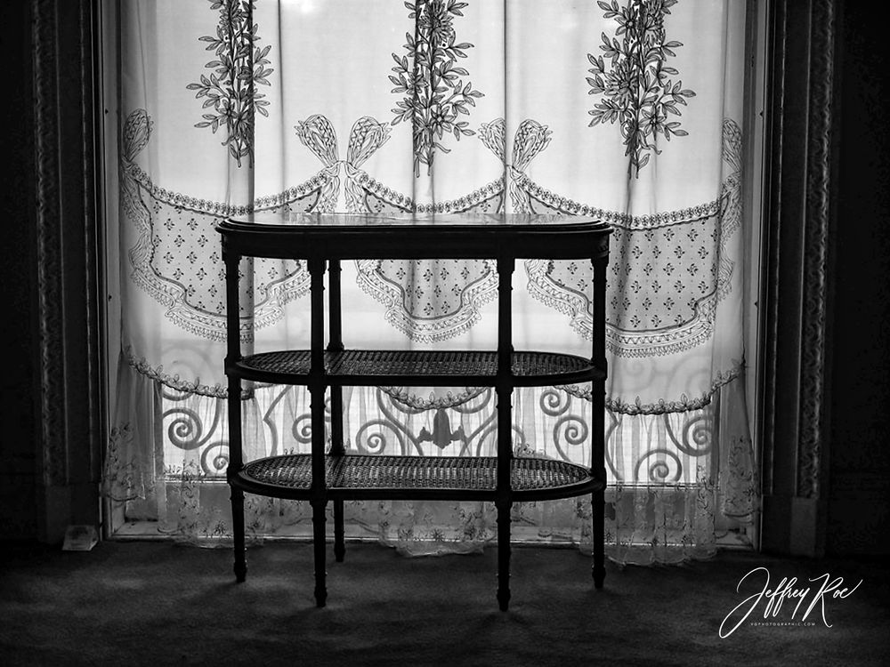 Photo in Black and White #table #sheer #curtains #backlight