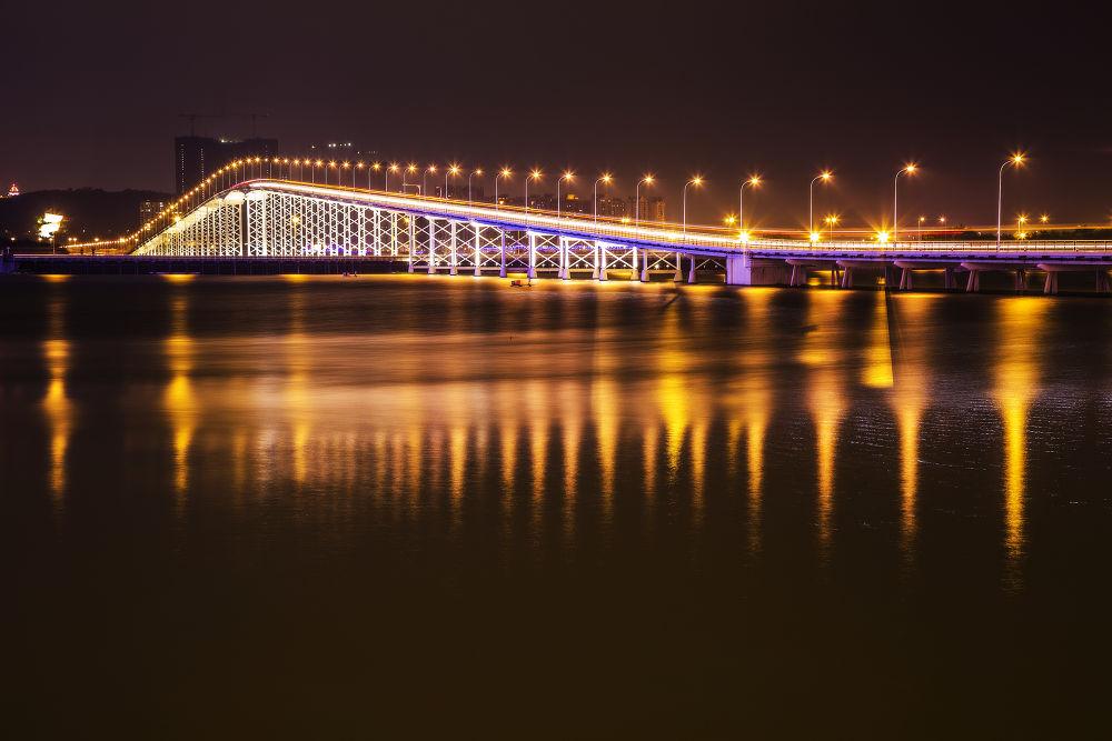 Photo in Cityscape #macau #macao #bridge #taipa bridge #asia #china #night #lights #traffic #night traffic #long exposure #bunlee #bun lee #city #cityscape