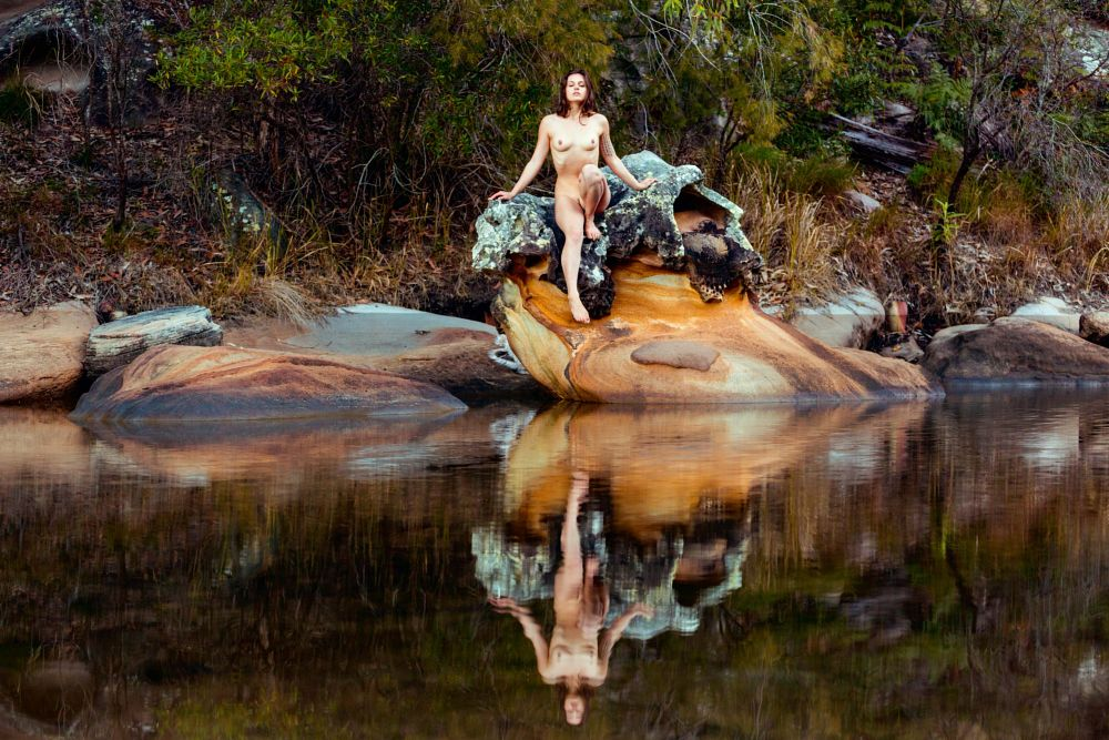 Photo in Random #nude #girl #rock #water #nature #reflection
