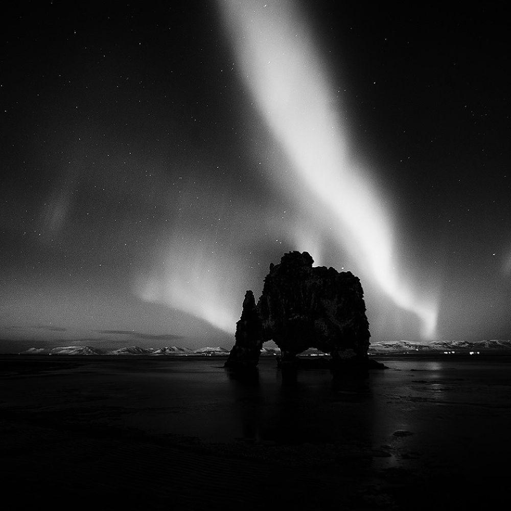 Photo in Landscape #ypa2013 #iceland #hvítserkur #landscape #nature #aurora borealis #northern lights #monochrome #black and white #rock #seascape #night